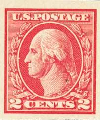 1920 2c Washington, imperforate, carmine, type V