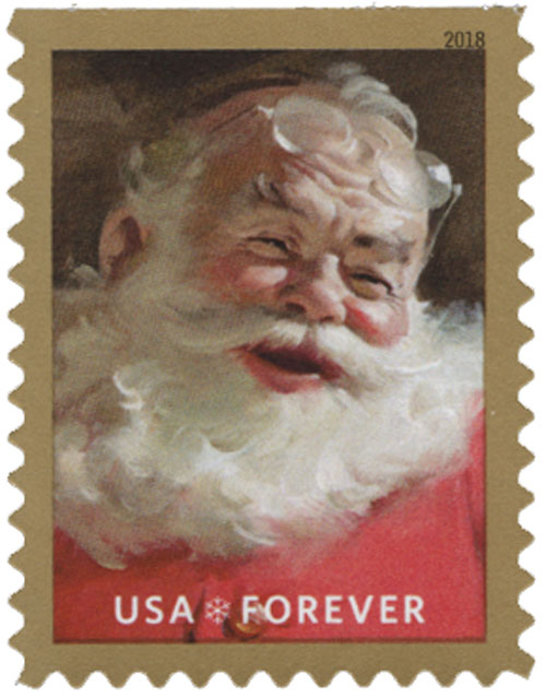 2018 First-Class Forever Stamp - Contemporary Christmas: Sparkling Holidays, Laughing Santa