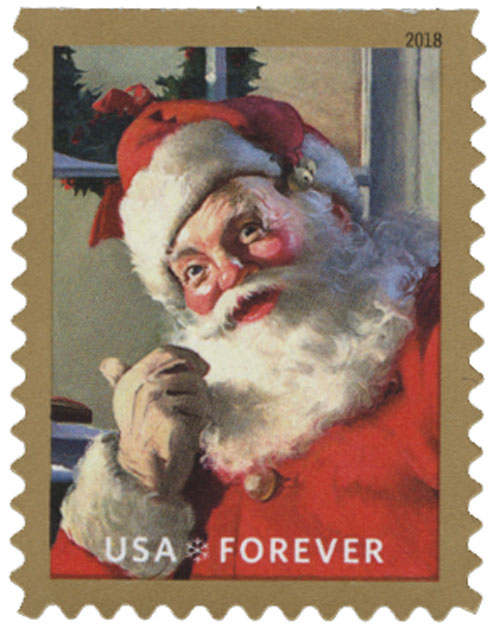 2018 First-Class Forever Stamp - Contemporary Christmas: Sparkling Holidays, Santa Claus Pointing