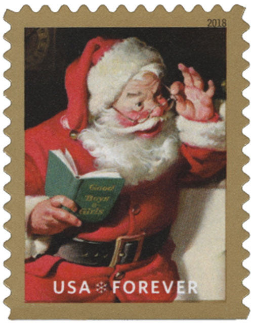 2018 First-Class Forever Stamp - Contemporary Christmas: Sparkling Holidays, Santa Claus and Book, Reading