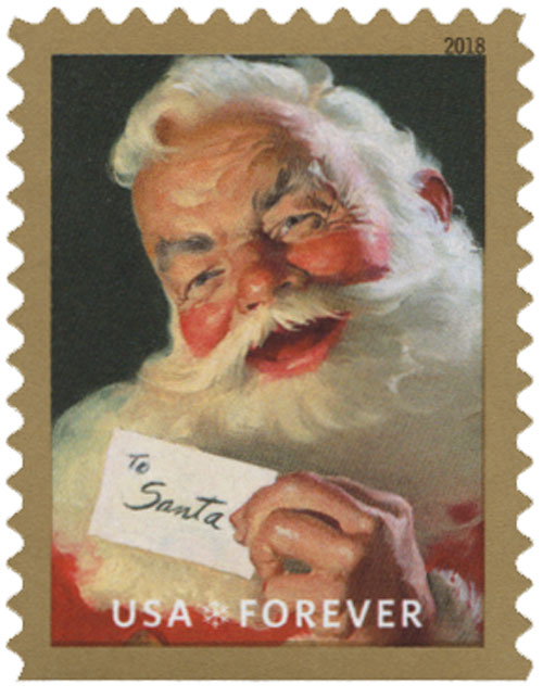 2018 First-Class Forever Stamp - Contemporary Christmas: Sparkling Holidays, Santa Claus Holding Card