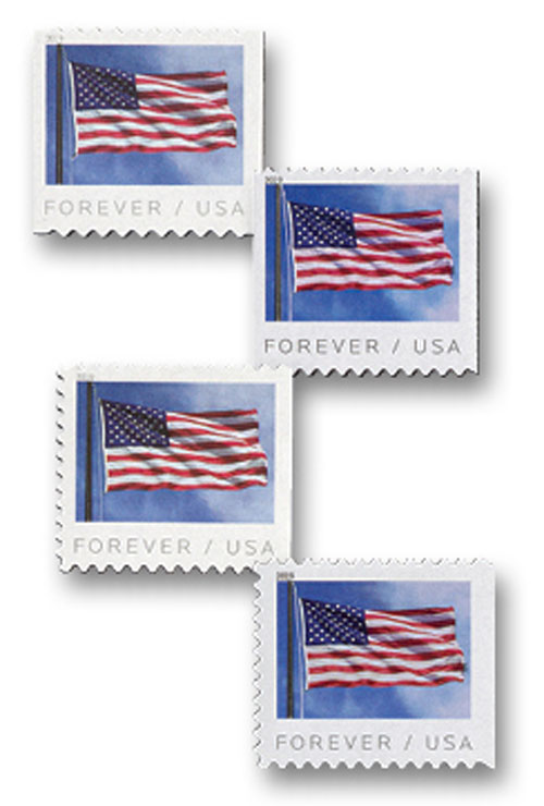 2019 First-Class Forever Stamps - US Flag - set of 4 stamps