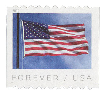 2019 First-Class Forever Stamp - US Flag (Ashton Potter coil)