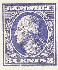 1918 3c Washington, imperforate, violet