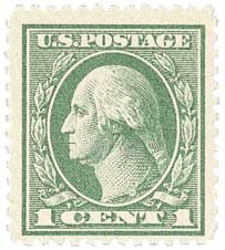 1919 1c Washington, gray green, perf 12.5