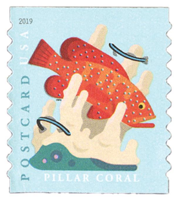 2019 35c Coral Reefs: Pillar Coral (coil)