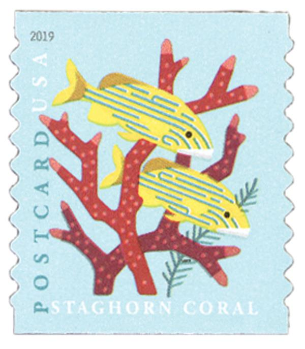 2019 35c Coral Reefs: Staghorn Coral (coil)