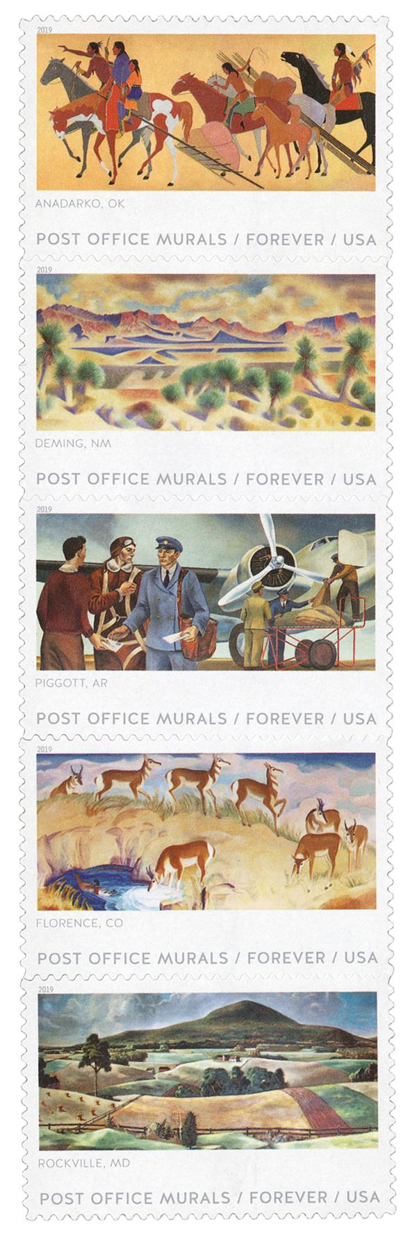 2019 First-Class Forever Stamp - Post Office Murals
