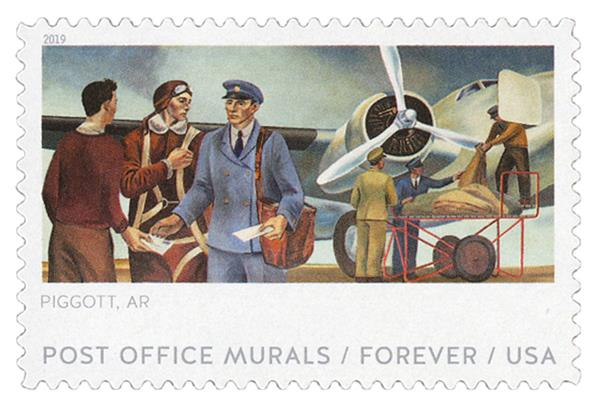 2019 First-Class Forever Stamp - Post Office Murals: 'Air Mail'