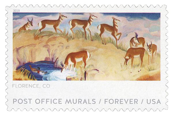 2019 First-Class Forever Stamp - Post Office Murals: 'Antelope'