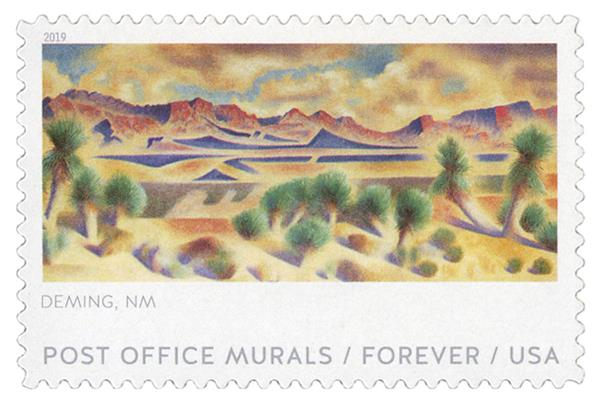 2019 First-Class Forever Stamp - Post Office Murals: 'Mountains and Yucca'