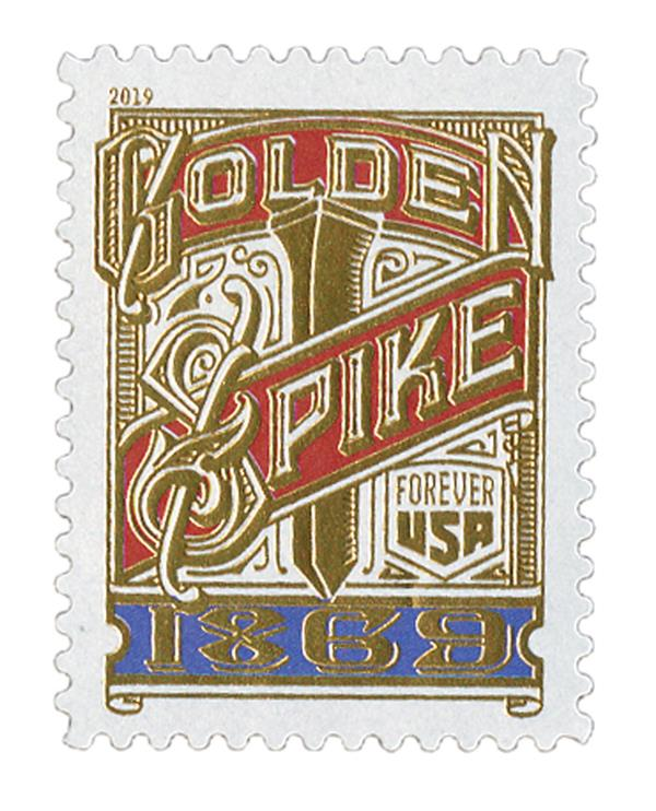 2019 First-Class Forever Stamp - Transcontinental Railroad: Golden Spike