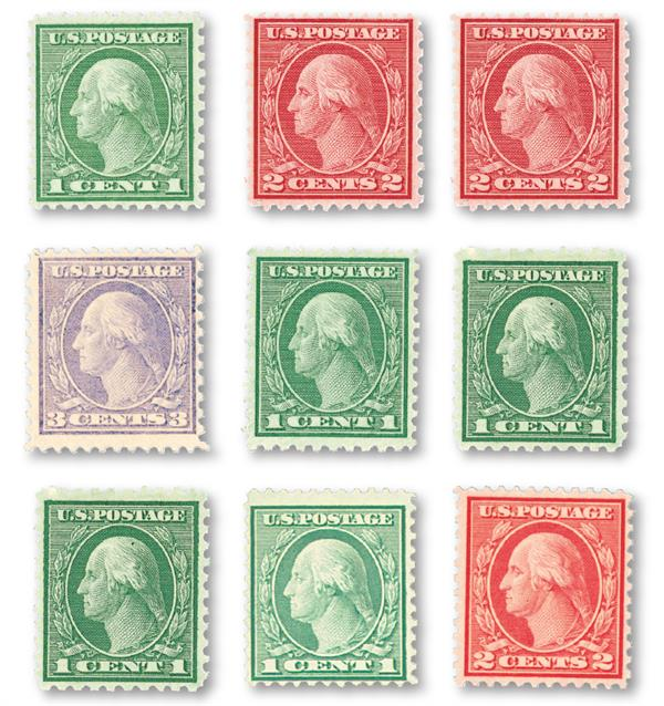 1919 Coil Waste, collection of 9 stamps