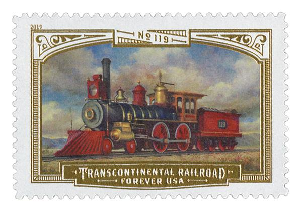 2019 First-Class Forever Stamp - Transcontinental Railroad: Union Pacific No.119