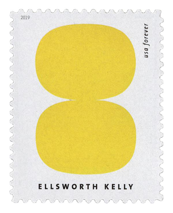 """2019 First-Class Forever Stamp - Ellsworth Kelly: """"Yellow and White"""""""