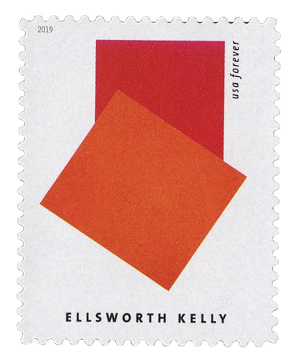 """2019 First-Class Forever Stamp - Ellsworth Kelly: """"Orange Red Relief"""""""