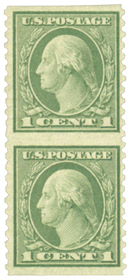 1919 1c Washington, green, vertical pair