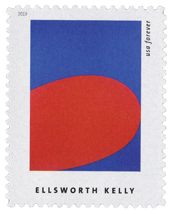 """2019 First-Class Forever Stamp - Ellsworth Kelly: """"Red Blue"""""""