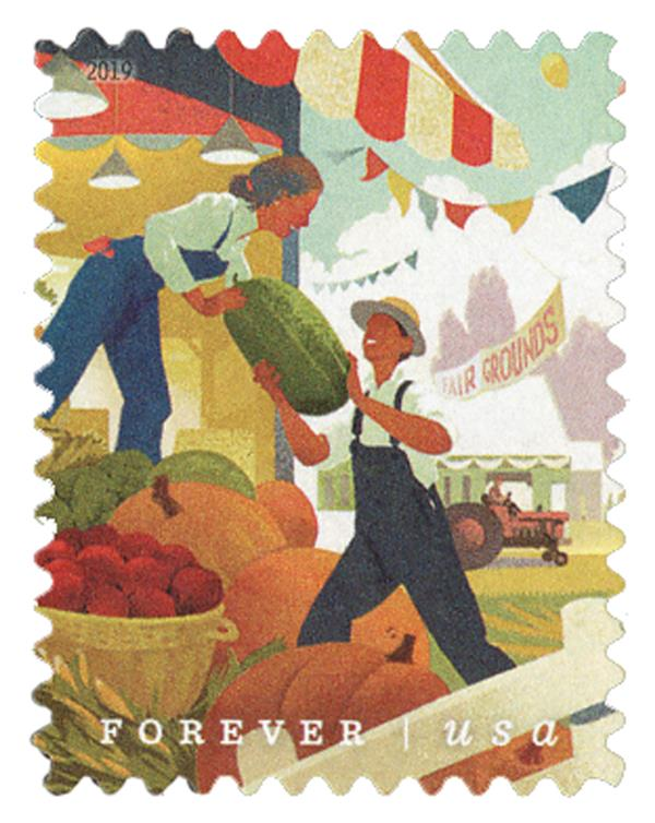 2019 First-Class Forever Stamp - State and County Fairs: Farmers Unloading Large Fruits and Vegetables