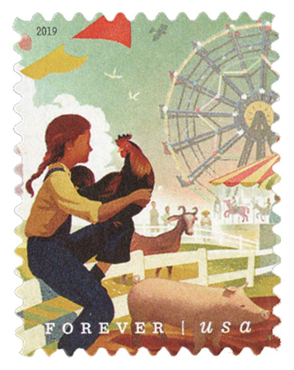 2019 First-Class Forever Stamp - State and County Fairs: Girl and Farm Animals