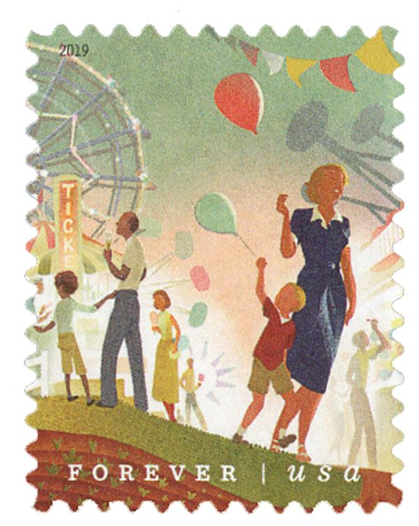 2019 First-Class Forever Stamp - States and County Fairs: Parents and Children