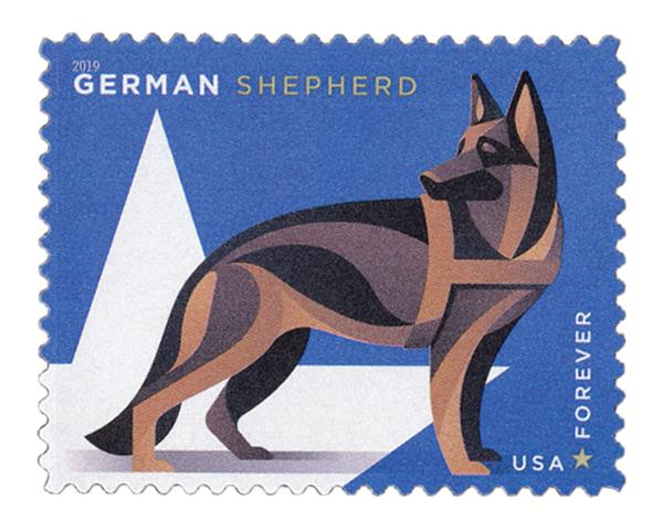2019 First-Class Forever Stamp - Military Working Dogs: German Sheperd