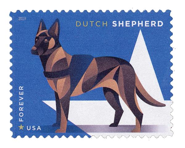 2019 First-Class Forever Stamp - Military Working Dogs: Dutch Sheperd