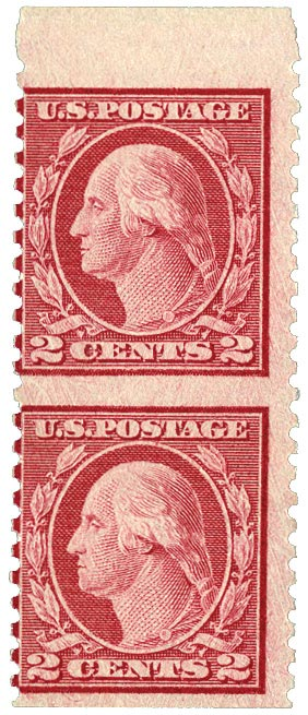 1919 2c Washington, horizontal imperf pair