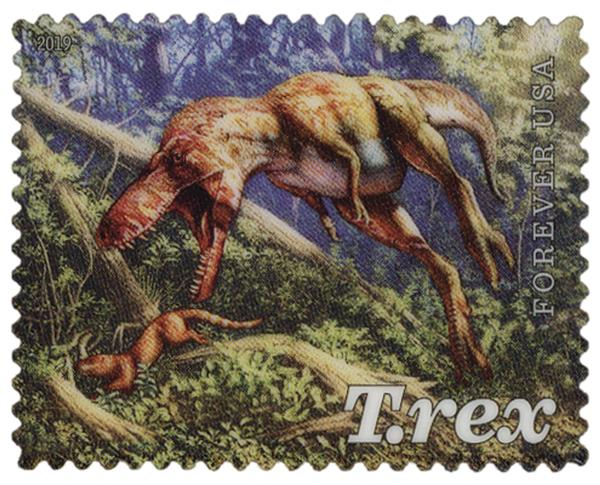 2019 First-Class Forever Stamp - Juvenile T. Rex Pursuing Mammal