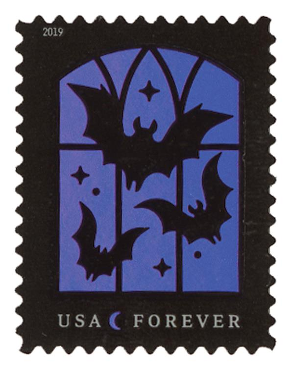 2019 First-Class Forever Stamp - Spooky Silhouettes: Bats