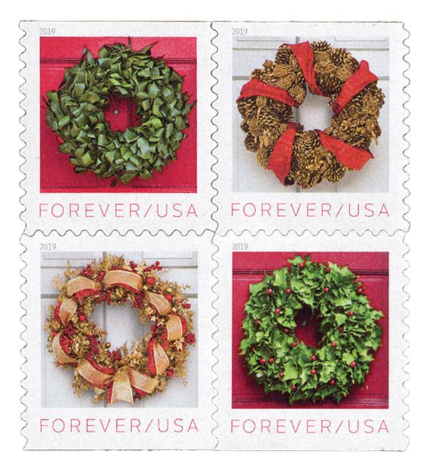 2019 First-Class Forever Stamp - Contemporary Christmas: Holiday Wreaths