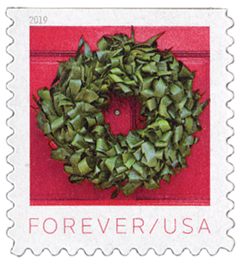 2019 First-Class Forever Stamp - Contemporary Christmas: Aspidistra Wreath