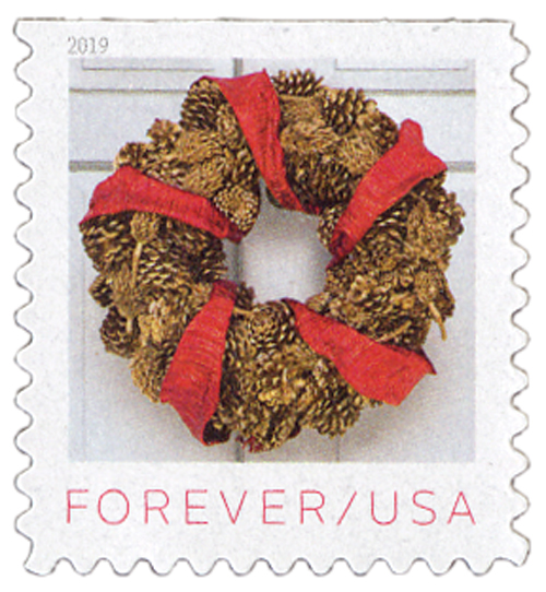 2019 First-Class Forever Stamp - Contemporary Christmas: Gilded Pinecones and Magnolia Pod Wreath