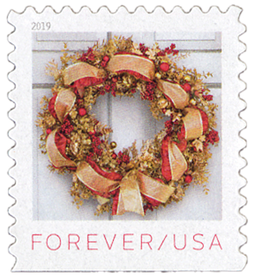 2019 First-Class Forever Stamp - Contemporary Christmas: Gilded Hydrangea, Eucalyptus, Nandina, and Ribbon Wreath