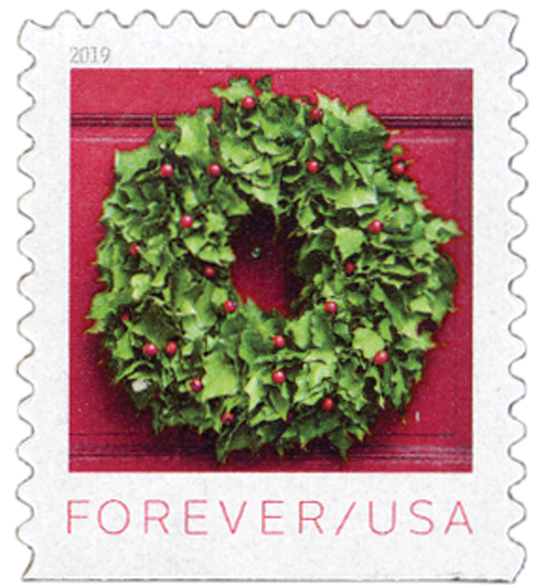 2019 First-Class Forever Stamp - Contemporary Christmas: Woodland Bush Ivy and Red Winterberry Wreath