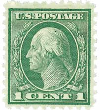 1921 1c Washington, green, perf 10