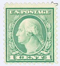 1921 1c Washington, green, perf 11