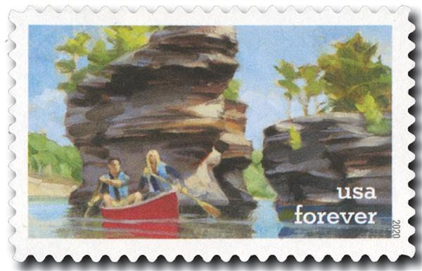 2020 First-Class Forever Stamps - Enjoy the Great Outdoors: Canoeing