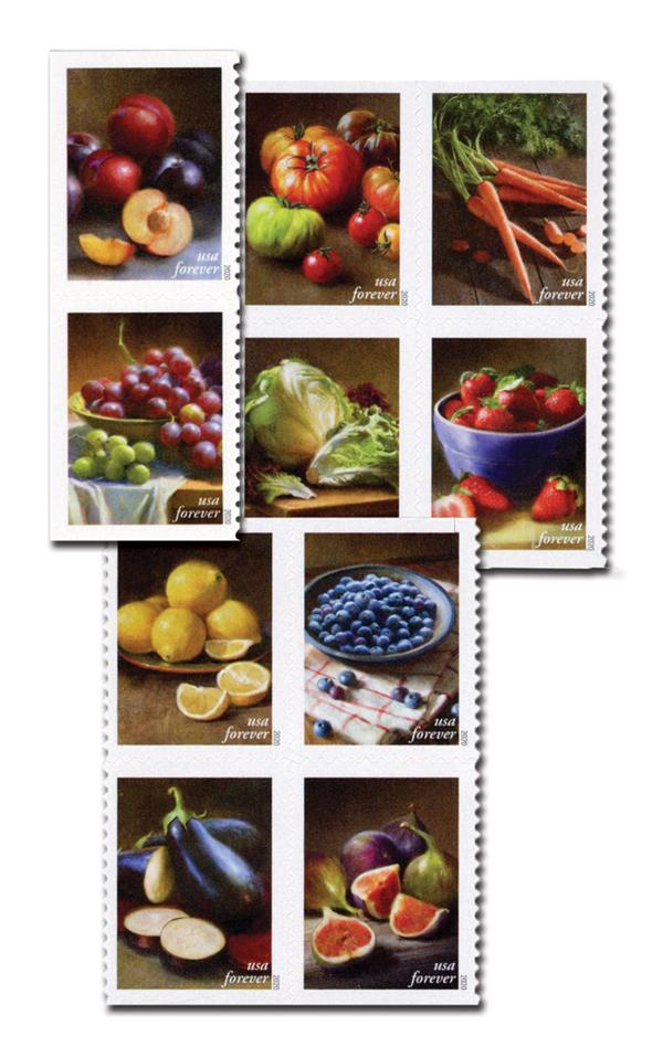 2020 First-Class Forever Stamps - Fruits and Vegetables