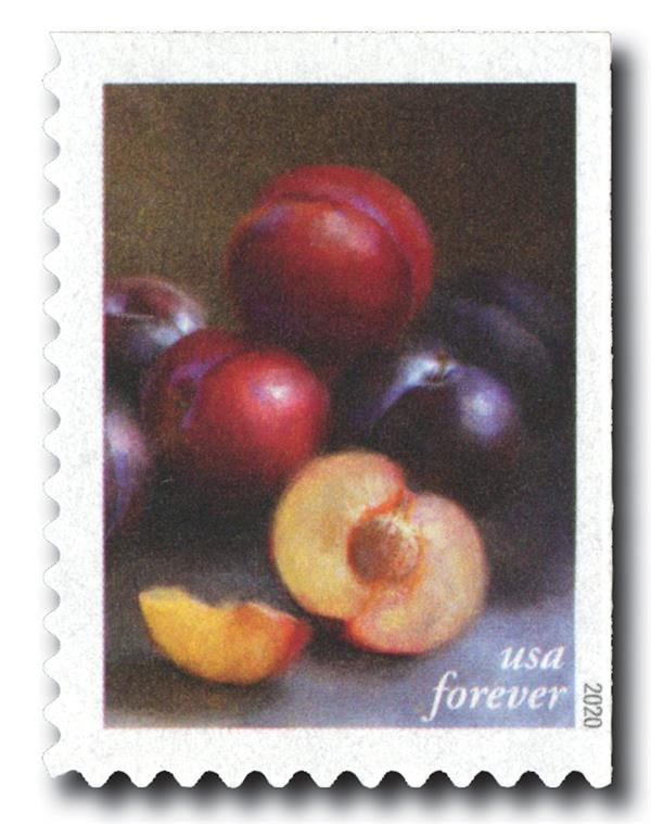 2020 First-Class Forever Stamps - Fruits and Vegetables: Red and Black Plums