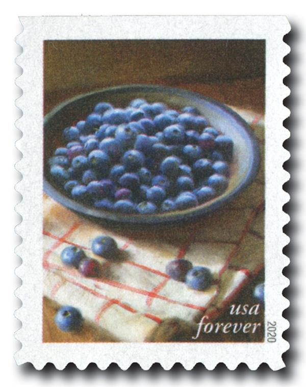 2020 First-Class Forever Stamps - Fruits and Vegetables: Blueberries