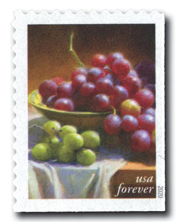 2020 First-Class Forever Stamps - Fruits and Vegetables: Red and Green Grapes