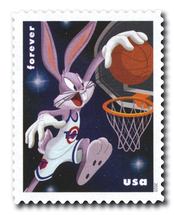 2020 First-Class Forever Stamps - Bugs Bunny: Playing Basketball