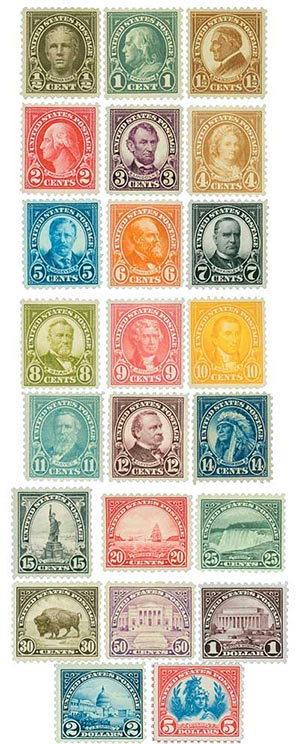 picture about Printable Postage Stamps called Comprehensive Fixed, 1922-25 Flat Plate Printing perf 11 for sale