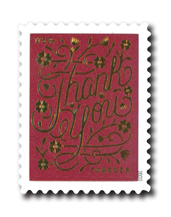 2020 First-Class Forever Stamps - Thank You: Rose Brown Background