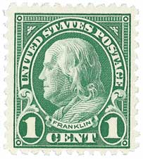 1923 1c Franklin, deep green