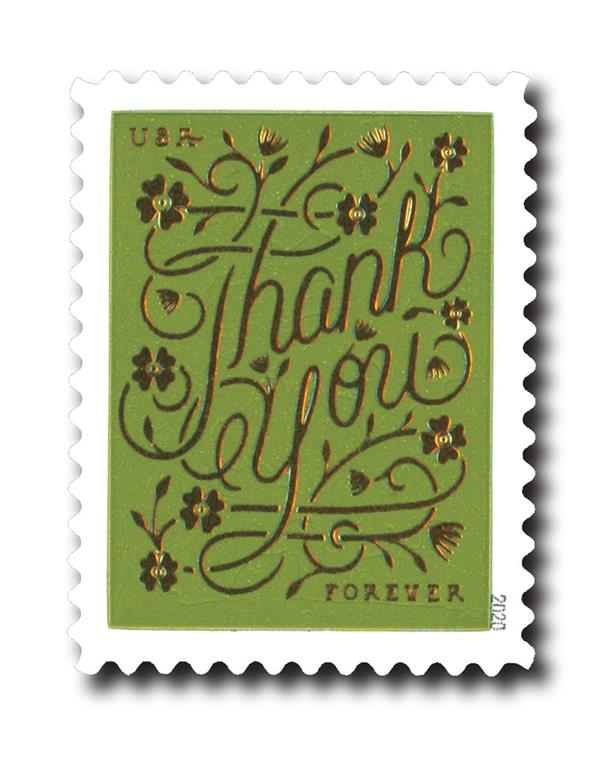 2020 First-Class Forever Stamps - Thank You: Olive Green Background