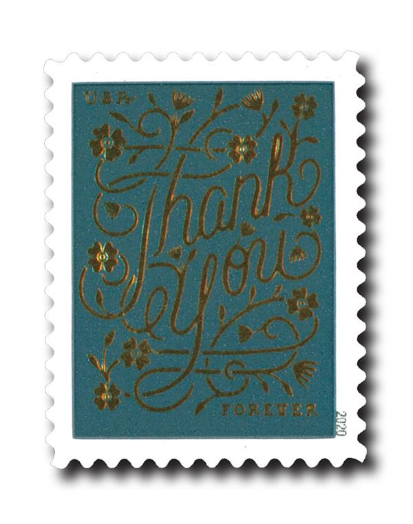 2020 First-Class Forever Stamps - Thank You: Slate Blue Background