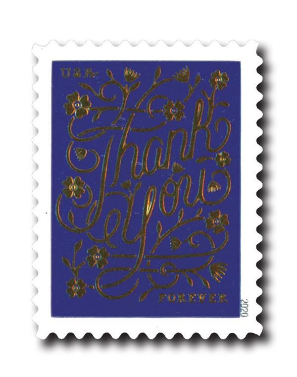 2020 First-Class Forever Stamps - Thank You: Violet Background