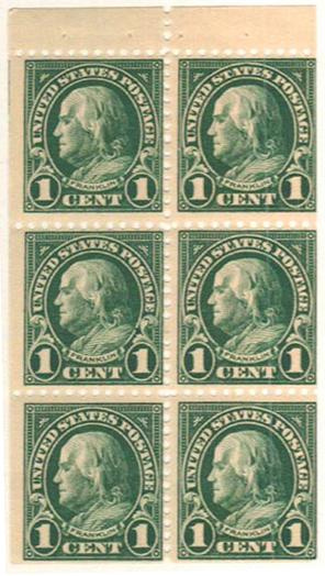 1922-25 1c Franklin,bklt pane of 6